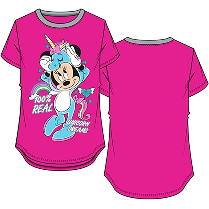 47db6db19de8 Disney Youth Girls Ringer Tee Minnie Mouse Real Unicorn Fuchsia X-Small