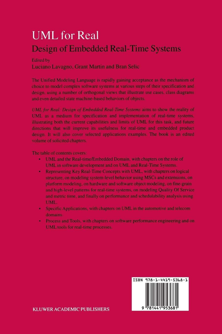 UML for Real: Design of Embedded Real-Time Systems - Livros
