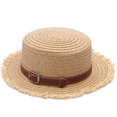 AJOG Femmes Soleil Plage Plat Chapeau De Paille Floppy Pliable Été À Large Bord Chapeaux Ceinture Décor