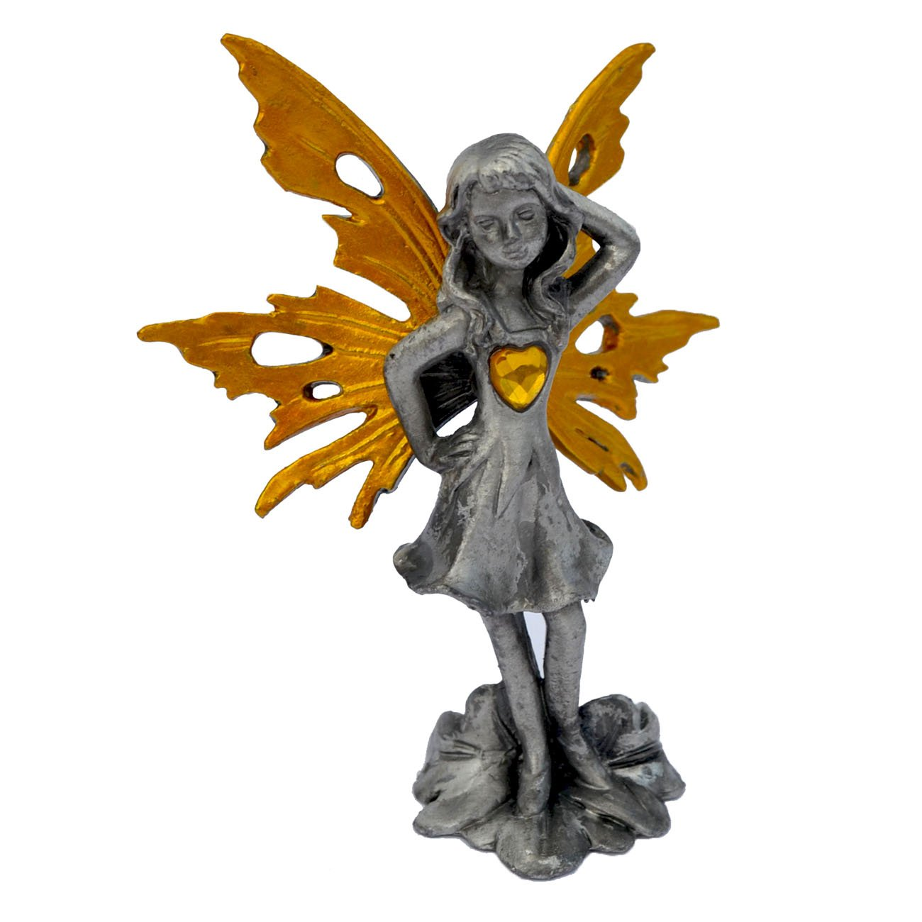 Pixie Glare Pewter Fairy Figurine Collectible Statue H Care Fairy 3 Golden Heart