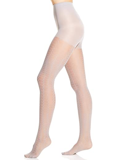 "f2ba95ec0a263 Hue Open Circles Sheer Tights with Control Top ""GRIS"" ..."