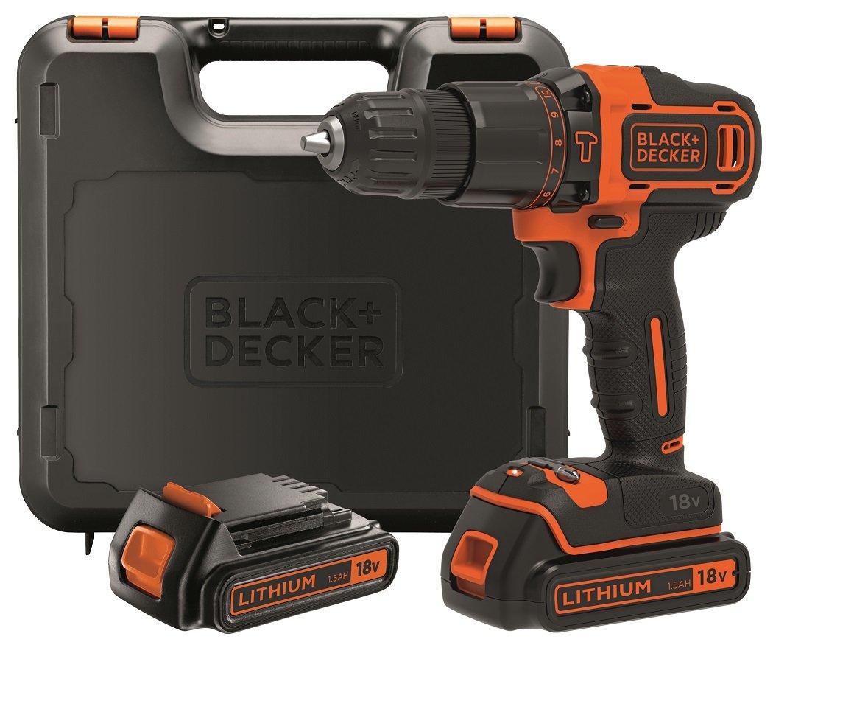 BLACK+DECKER BDCHD18KB-QW - Taladro percutor 18V, 40 Nm, con 2 baterías litio 18V (1.5Ah) y maletín