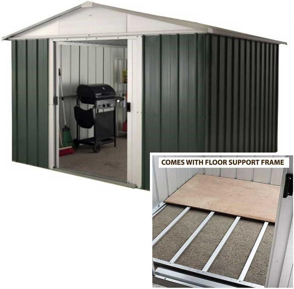 Yardmaster 10 pies x 8 pies Apex Metal caseta de jardín con marco ...
