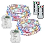 Fairy Lights, FYHD 2-Pack Battery Operated Waterproof Multi-Colored 50 LED Fairy String Lights,16.4feet Silver Wire Light with Remote Control for Party Weeding Garden Home Decoration