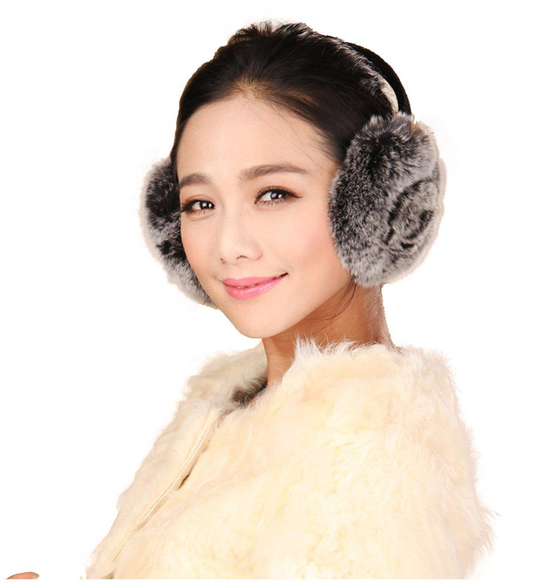 URSFUR Rex Rabbit Fur Emma Earmuffs with Rosette Multicolors (Gray)
