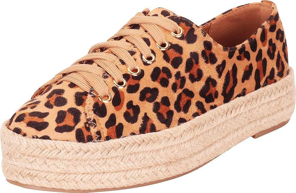 Leopard Cambridge Select Women's Low Top Lace-Up Chunky Espadrille Flatform Fashion Sneaker