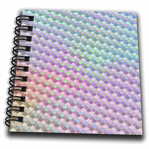 (3dRose Anne Marie Baugh - Patterns - Blue, Pink, Green, Purple, and Faux Gold Mermaid Scallops - Mini Notepad 4 x 4 inch (db_283233_3))