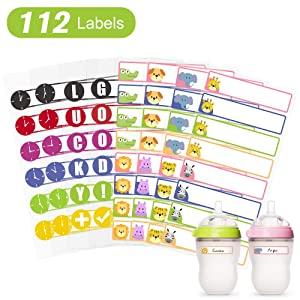 Waterproof Baby Bottle Labels for Daycare School Supplies Stick on Kids Sippy Cup, Dishwasher Safe, Self Laminating Write on Name Stickers, 112 Labels