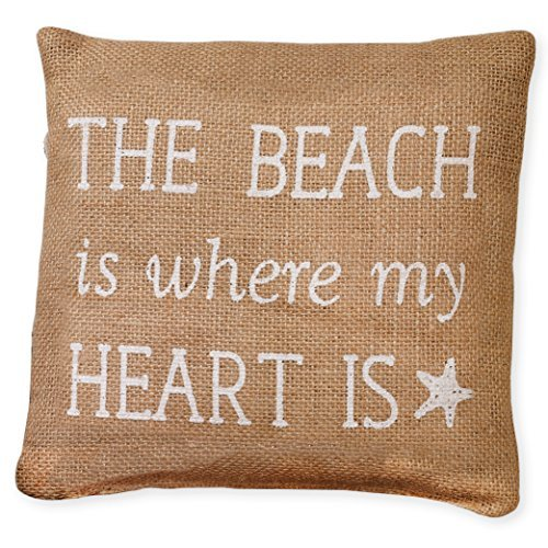 Small White The Beach is Where My Heart Is 8 x 8 Burlap Decorative Throw Pillow [並行輸入品] B07RCWH4K8