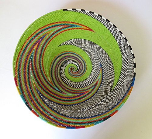 African Zulu woven telephone wire bowl – Large shallow bowl - Green and multicolour