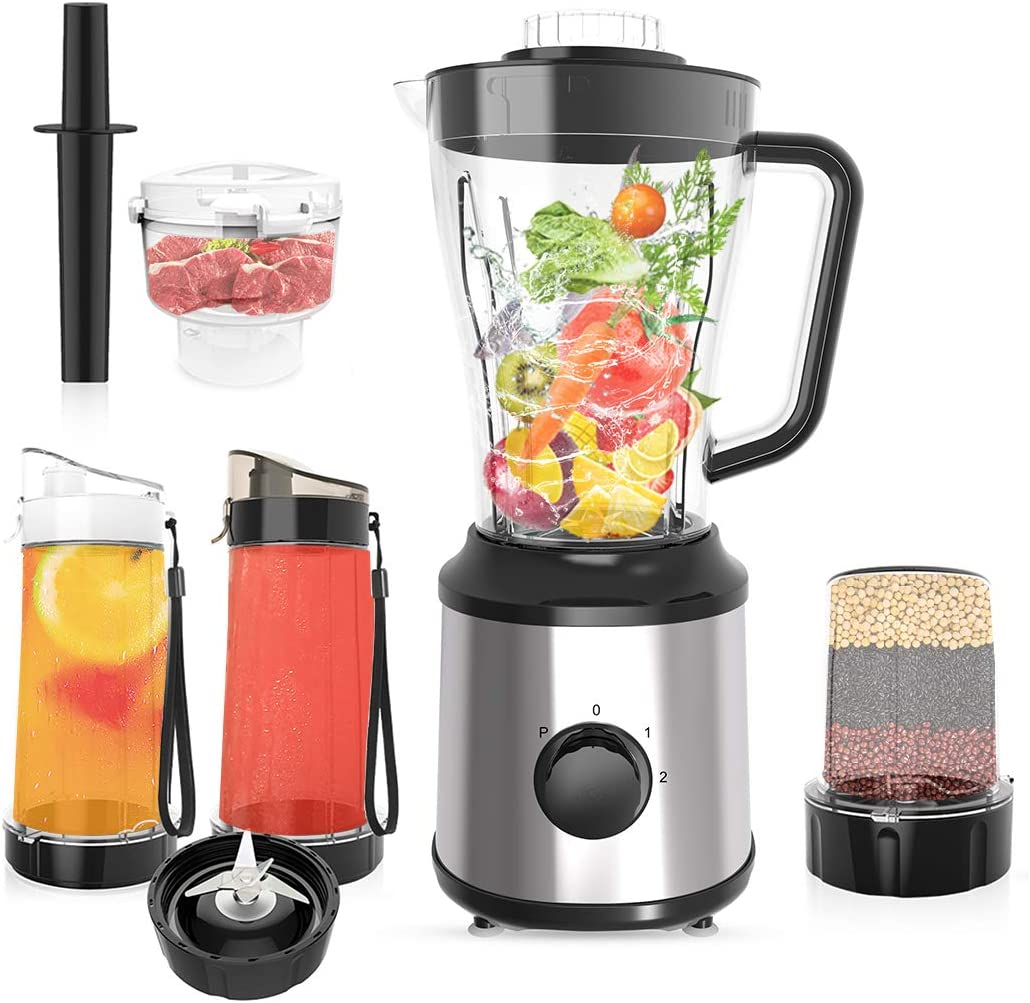 CLORIS Food Processor Blender Combo Vitamix Countertop Blender Frozen Drink Machine Food Processor Smoothie Coffee/Spice Grinder/Food Chopper Como