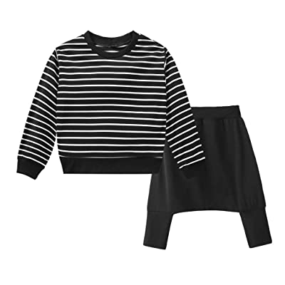 Fineser Toddler Little Boys Girls Stripe Long Sleeve Sweatshirt Tops+Long Pants 2PCs Outfits Set