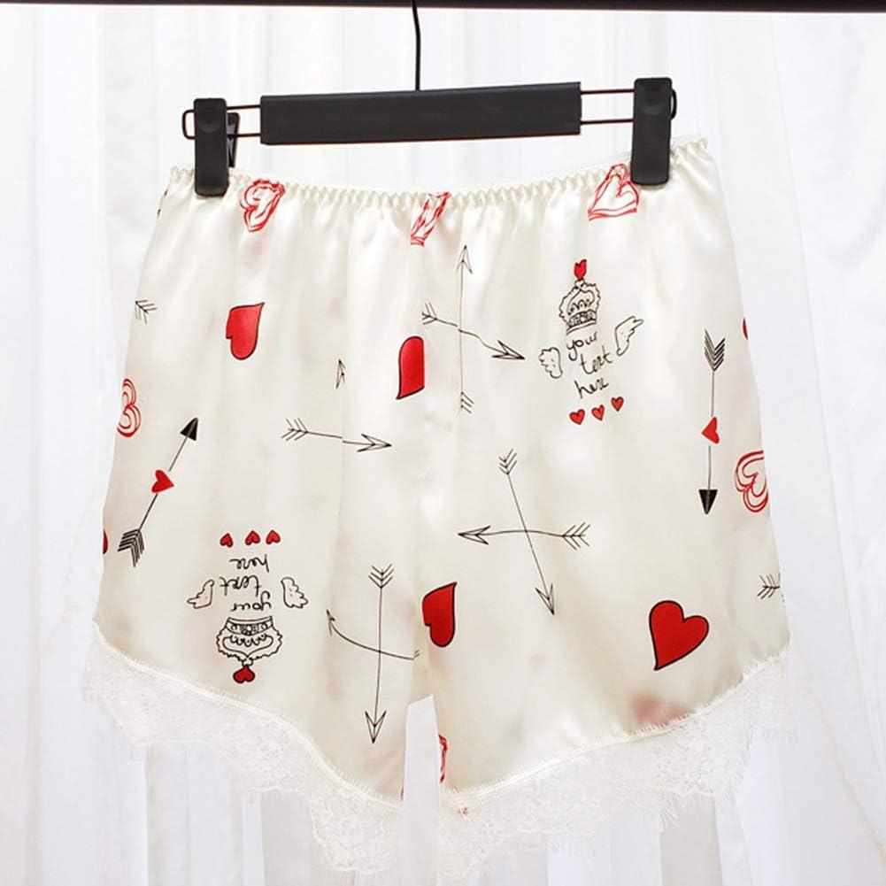 Chica Tela Andar por Casa Sat/én Encaje con 3 Colores Elegibles VicSec Pantalones de Pijama Cortos Pantalones de Dormir Casual para Mujer Pink Lip, Blanco Corazon, Negro Cherry