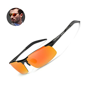 701f0fed56 Mareotic Driving Polarized Sunglasses for Men UV Protection Ultra  Lightweight Al Mg Golf Fishing Sports Driving Sunglasses (Black Frame Red  Lens)  ...