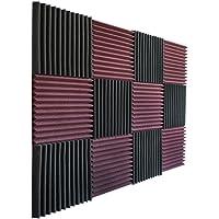 "12 Pack- Burgundy/Charcoal Acoustic Panels Studio Foam Wedges 1"" X 12"" X 12"""