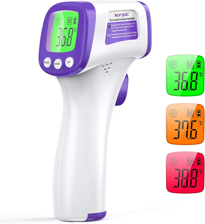 Termometro Infrarrojos Digital, konjac Termometro infrarrojo sin contacto,termometro laser con recordatorios de tres colores y para bebés y adultos