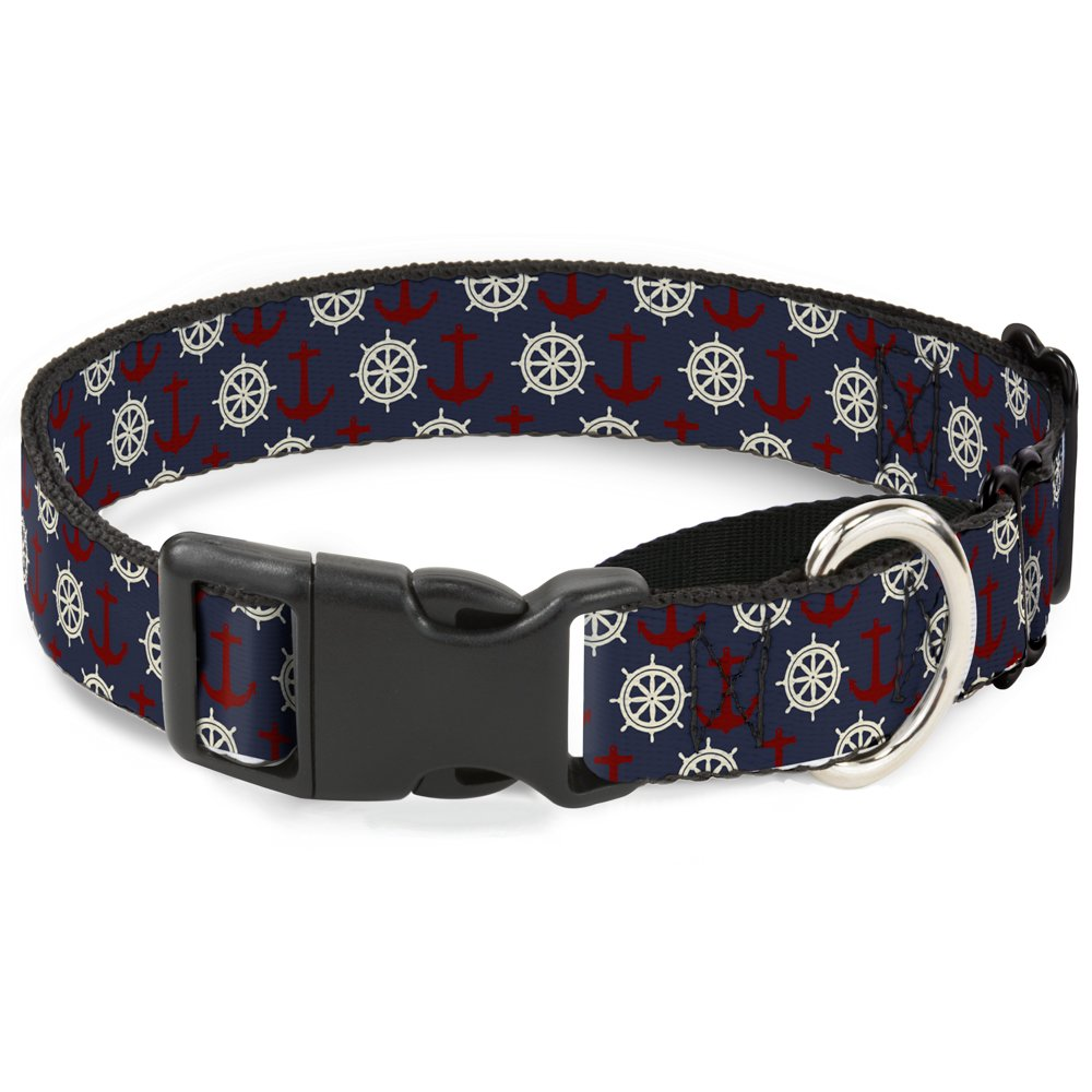 Buckle-Down Anchor3 Helm Monogram Navy Red Cream Martingale Dog Collar, 1  Wide-Fits 9-15  Neck-Small
