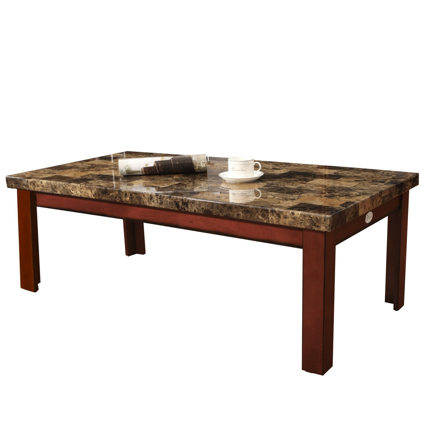 Marble Coffee Table Rectangular: Adeco Walnut Color Wood Faux Marble Finish Rectangular