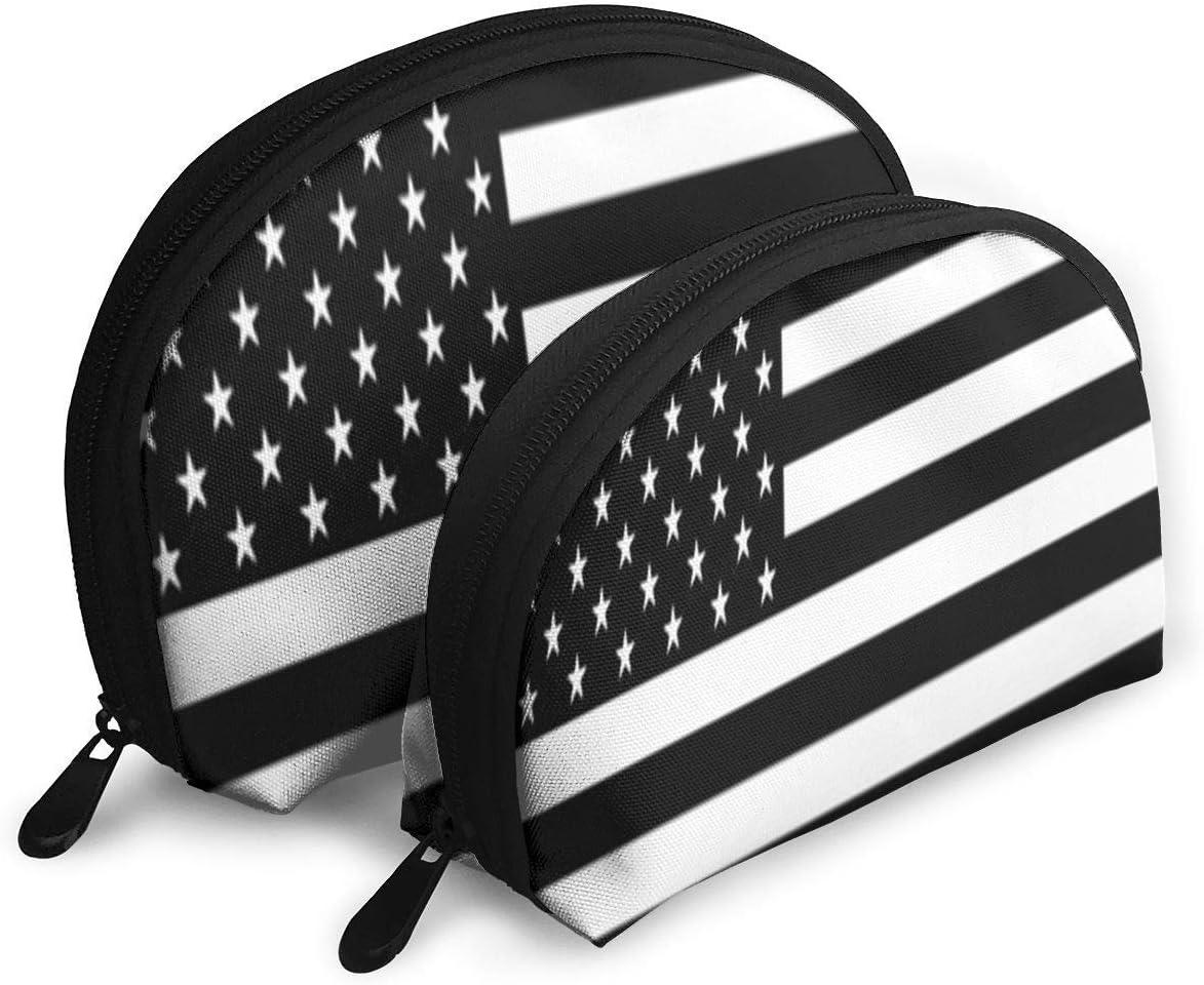 Estuche de Maquillaje Us Flag Blanco y Negro Práctico Half Moon Beauty Bags Estuche para Mujeres: Amazon.es: Equipaje
