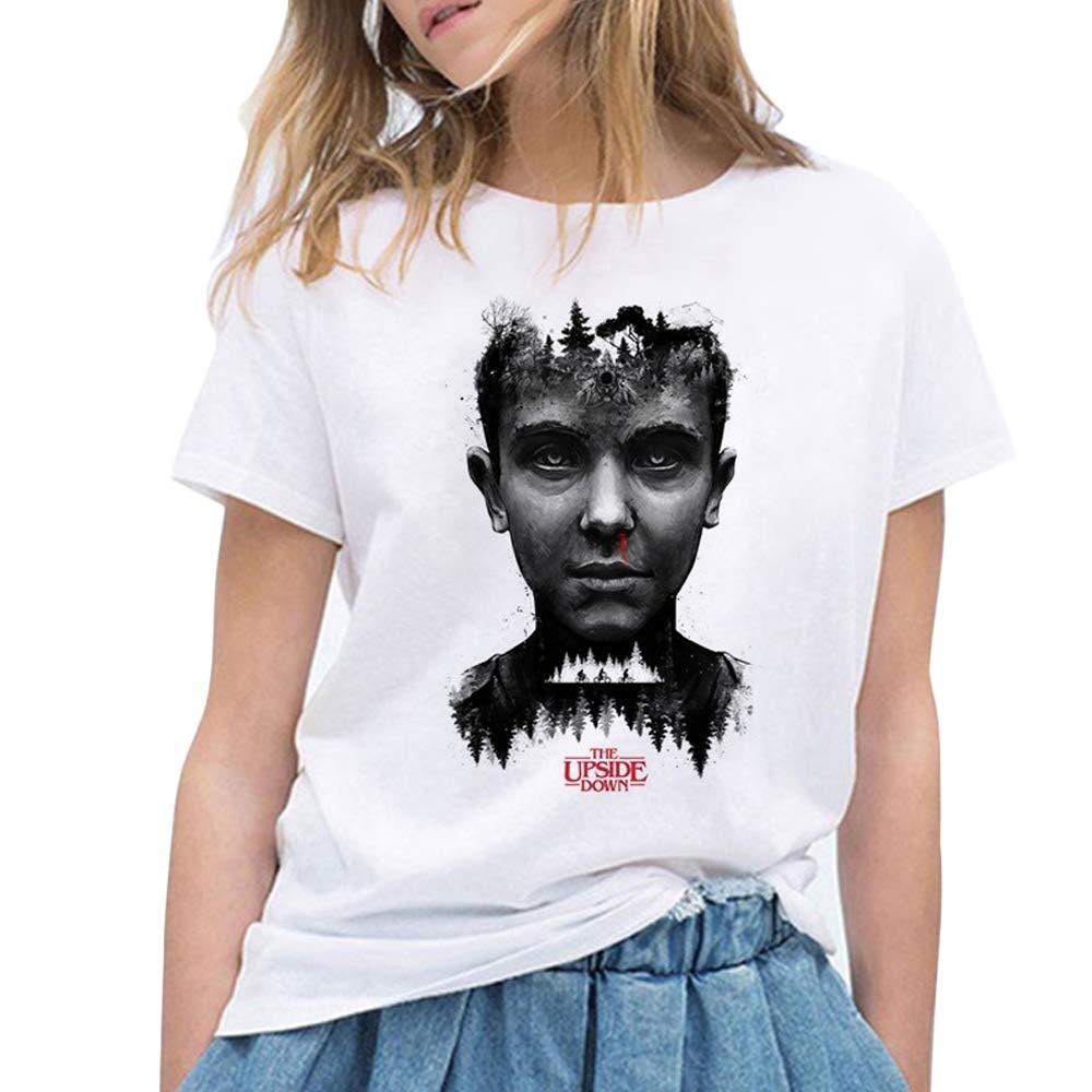 Stranger Things Maniche Corte Maglia con Stampa Lettera Estate Maglietta Tee T-Shirt Camicia Tops Camicetta Blusa da Ragazzo Ragazza Stranger Things Maglietta per Donna