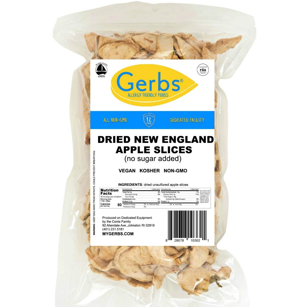 GERBS Dried New England Apple Slices, 16 ounce Bag, No Sugar Added, Unsulfured, Preservative, Top 14 Food Allergy Free