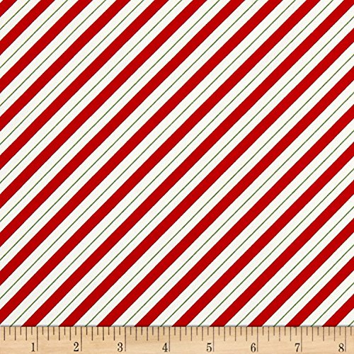 Henry Glass Ring in the Holly Days Candy Cane Stripe Red Fabric by the Yard, ()