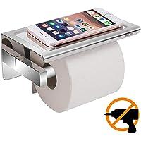 Toilettenpapierhalter Ohne Bohren, Aufisi Selbstklebend Klorollenhalter SUS304 Edelstahl Klopapierrollenhalter WC Rollenhalter mit Mobiler Telefon Aufbewahrungsfläche, für Küche und Badzimmer
