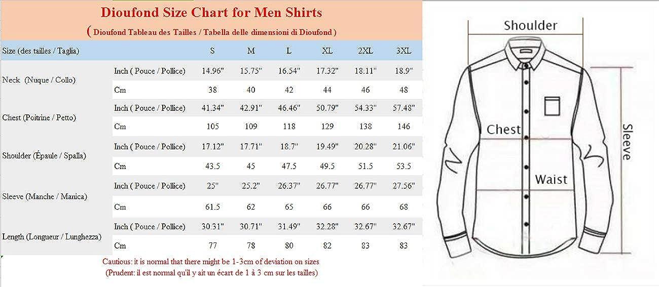 Dioufond Chemise Col Mao Homme Chemises sans Col en Popeline de Coton