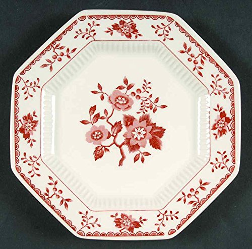 Independence Ironstone Interpace Bittersweet Bread and Butter Plate Red / Pink Flowers Red Border (Ironstone Bread Plate)