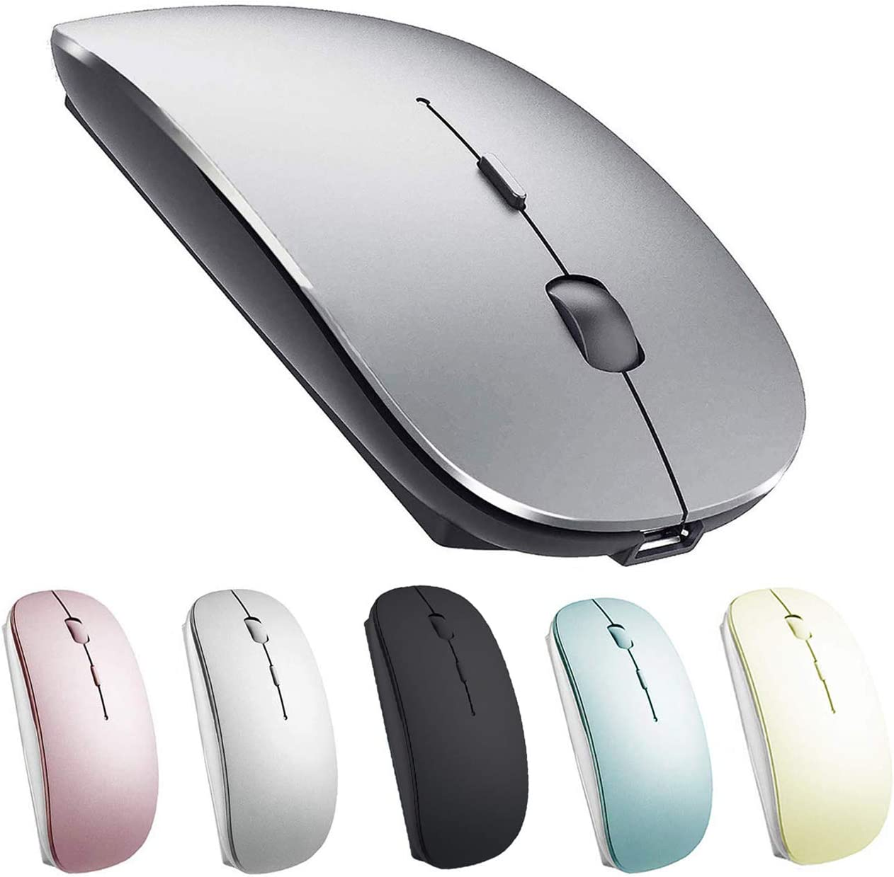 Rechargeable Bluetooth Mouse for Mac Laptop iPad Wireless Bluetooth Mouse for MacBook Pro MacBook Air Windows Notebook MacBook (Gray Black)