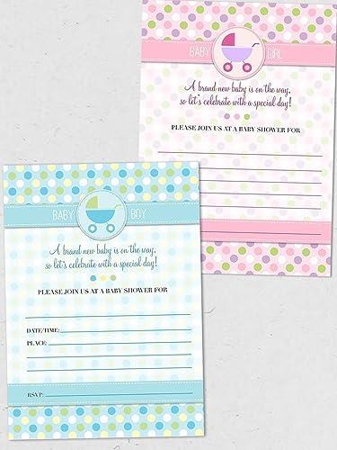 Amazon Com Polka Dot Pram Pink Or Blue Baby Shower Invitation 10