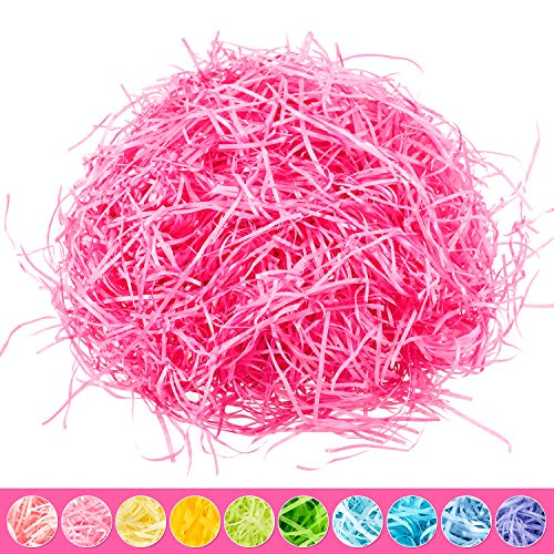 Whaline Easter Basket Grass Craft Shredded Tissue Raffia Gift Filler Paper Shreds for Baskets Egg Stuffers for Spring Party Supplies Accessories Decorations (Rose Red) -