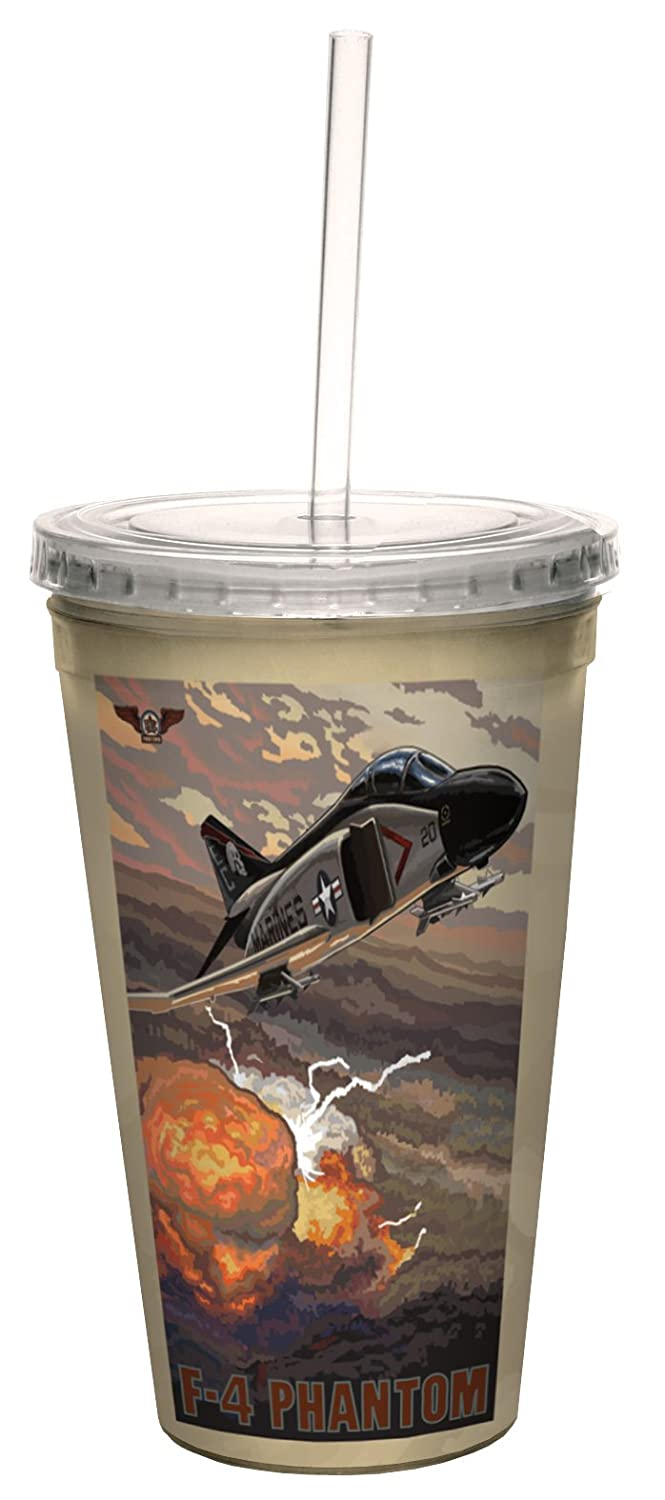 Tree-Free Greetings cc33268 Military F-4 Phantom Fighter Jet by Paul A Lanquist Artful Traveler Double-Walled Cool Cup with Reusable Straw 16-Ounce