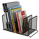 MyGift Mesh Metal 5 Slot Desktop Document Organizer, File Folder Stand, Black