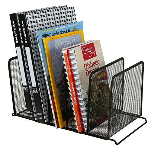 MyGift Mesh Metal 5 Slot Desktop Document Organizer, File Folder Stand, Black (Shelf Dividers File)