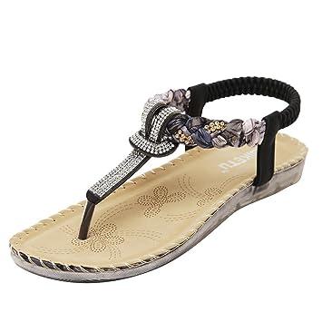Elecenty Sandalen Schuhe Schuh Sommerschuhe Bequeme Sandaletten Sommer Zehentrenner Sandalen Offene Weich Flache Badesandalette Strass Outdoor Beiläufig Strandschuhe (40, Schwarz)