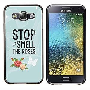 Stuss Case / Funda Carcasa protectora - Sentir les roses Papillon texte - Samsung Galaxy E5 E500