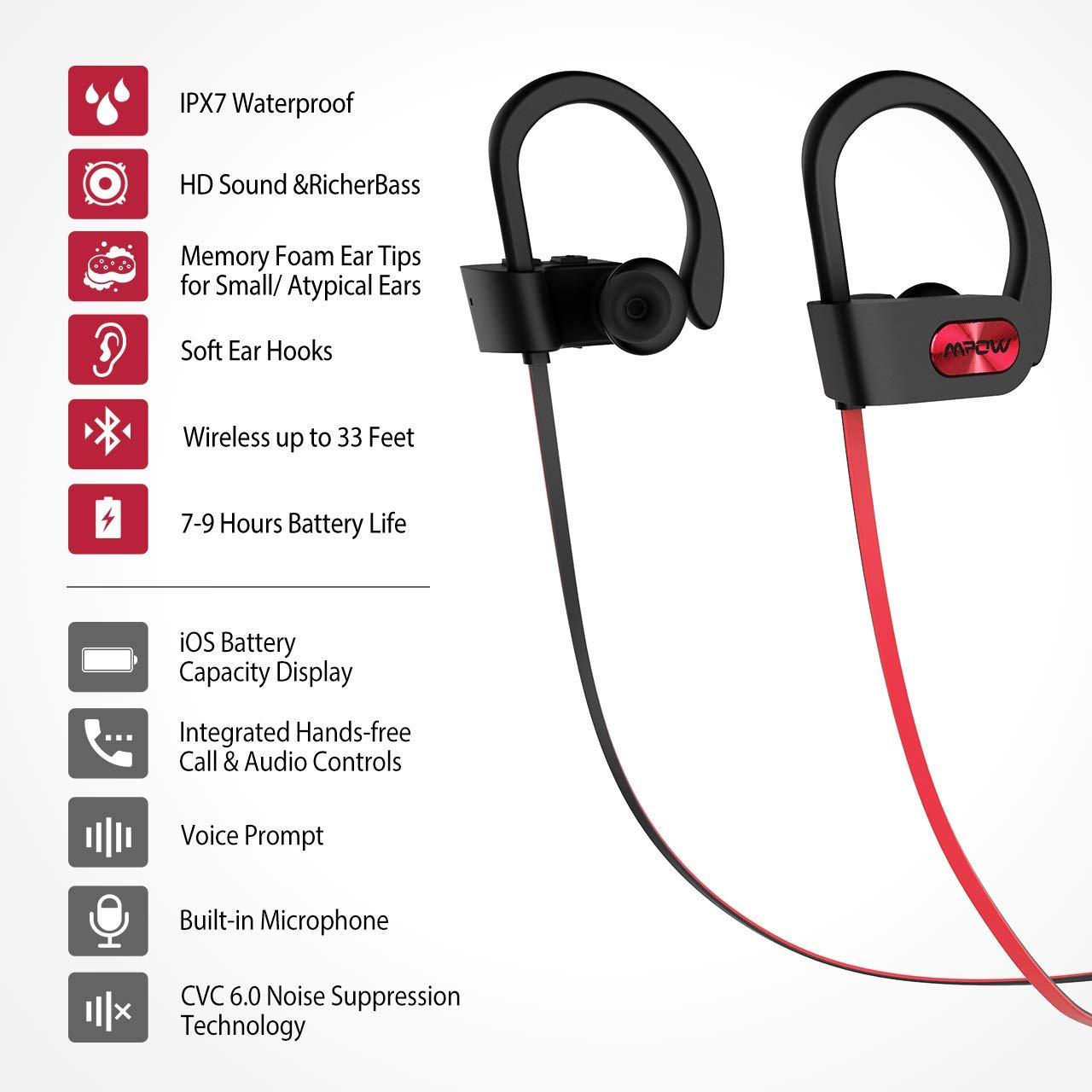 e7f081d315e Amazon.com: Mpow Flame Upgraded Bluetooth Headphones with Case, IPX7  Waterproof Wireless Earphones Sport W/Mic, 7-9 Hrs Playtime, in-Ear Wireless  Earbuds ...