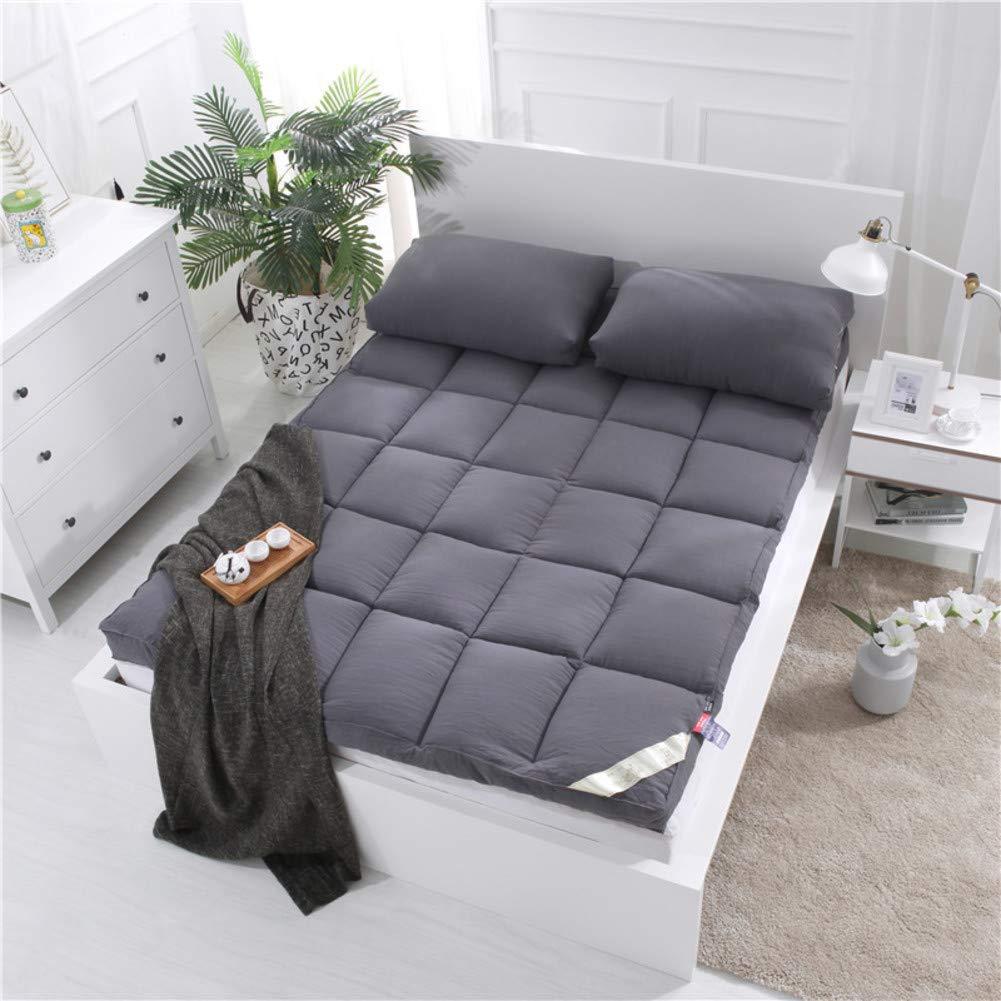 Love Home Tatami Matratzenauflage, extra plüschig, japanische Vierjahreszeiten, atmungsaktiv, warm, Studenten-Schlafmatratze, Schaumstoff, grau, 150x200cm(59x79inch)