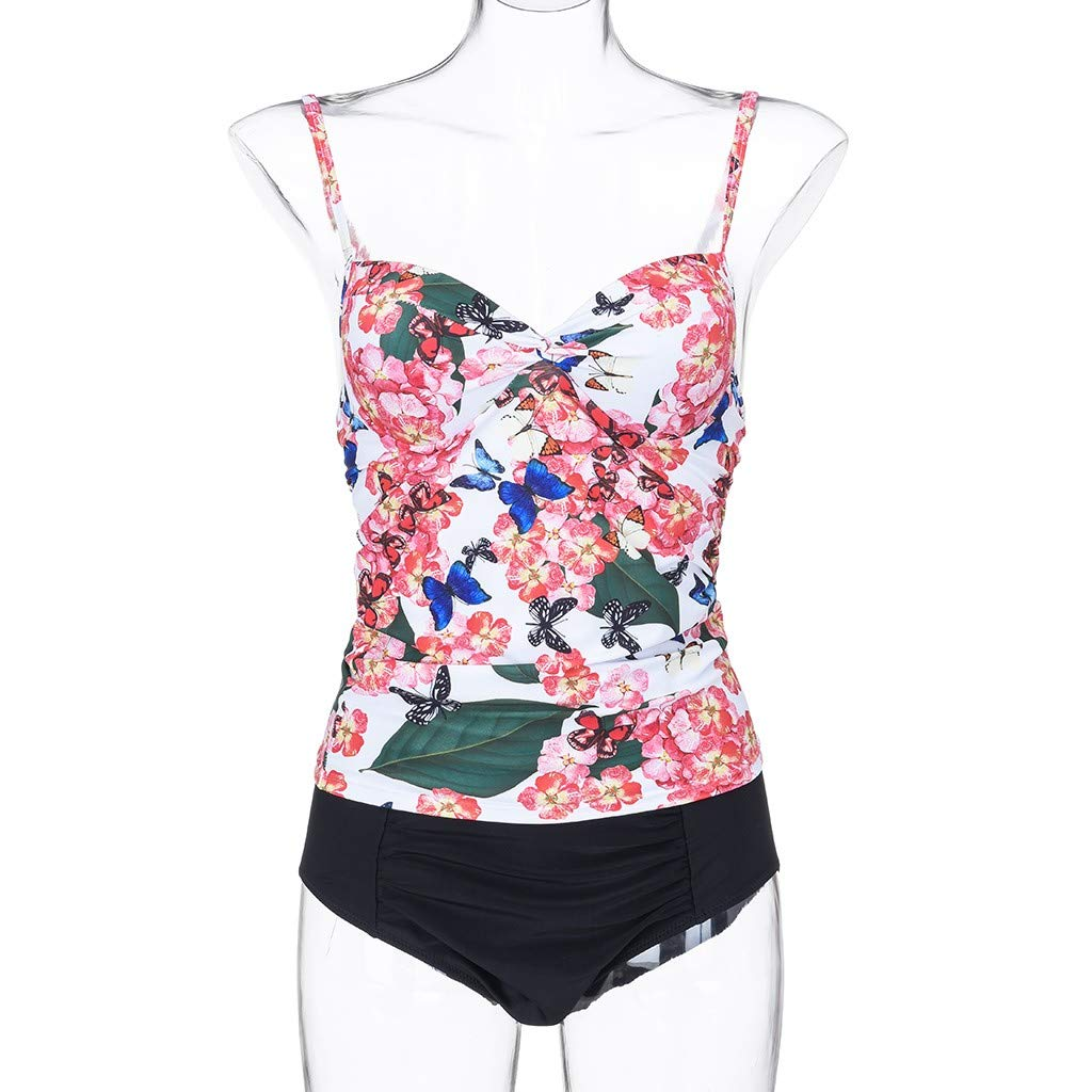 Two Piece Swimsuits for Women RTYou Womens Floral Underwired Tankini Set Two Piece Push up Swimsuit Bathing Sets