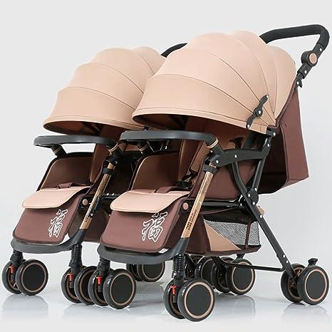 Cochecito de bebé gemelo, cuatro ruedas plegables ligeras, sombrilla completa ajustable, marco de
