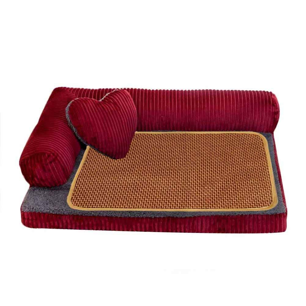 Pbed Pet Dog Bed Sofa-Style Couch Plush Pet Bed for Dogs & Cats,Straw Mat,All Seasons General Purpose,red,Medium by Pbed