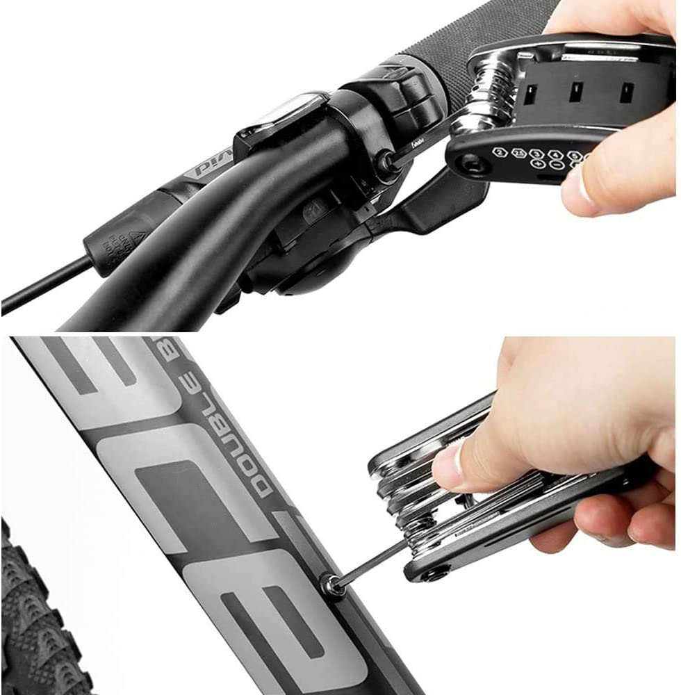 Bike Repair Set Bicycle Multi Function 16 in 1 Tool Kit,Screwdriver Tool Combination,Hex Key Wrench Portable Multi Tool Maintenance Fix,Mini Set for Road Mountain Bikes Tire Patch Lever