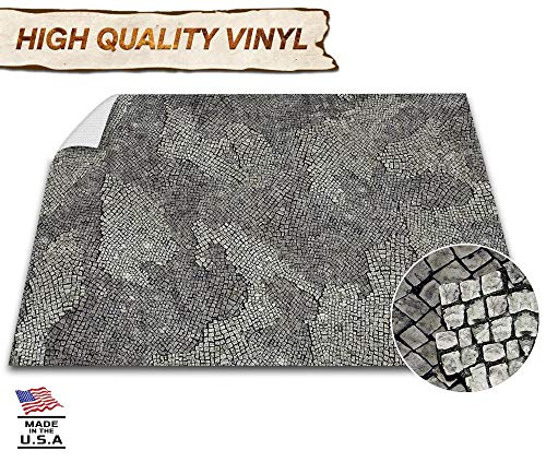Battle Game Mat - 48x72 - Dungeons & Dragons Tabletop Role Playing Map - Wargaming DND - RPG Dust Warfare & Flames of War - Miniature Figure Board Games - 40k Warhammer Gaming Vinyl (Cobblestone)