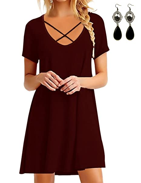 WAEKIYTL Women s V Neck Criss Cross Casual T Shirt Dress Short Sleeve Loose  Tunic Tops with cbe86f211