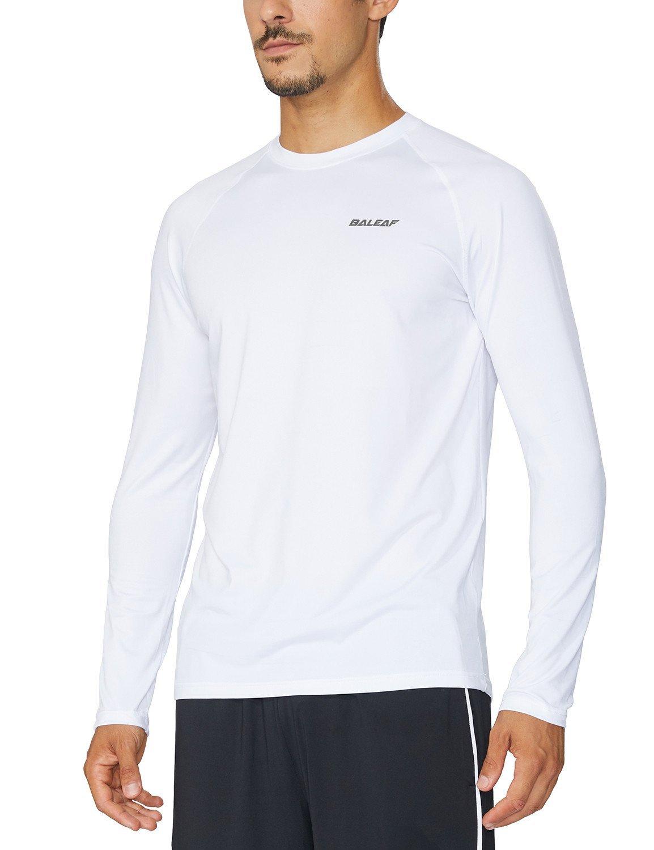 Baleaf Men's Cool Running Workout Long Sleeve T-Shirt White Size XXL by Baleaf