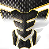 zr headlight cover - 3D 4-Piece Customize Fuel Tank Pad Decal / Sticker Perforated Black w/Gold Trim
