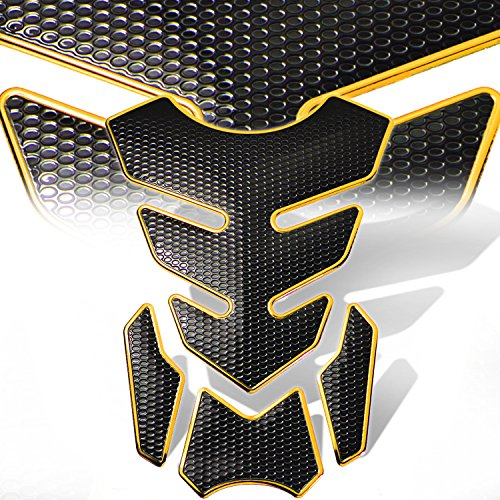 3D 4-Piece Customize Fuel Tank Pad Decal / Sticker Perforated Black w/Gold Trim