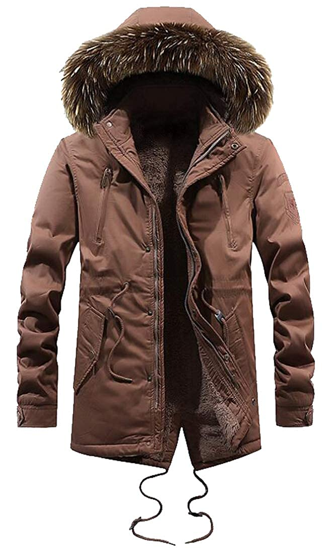ARTFFEL Mens Thick Faux Fur Hoodies Winter Solid Faux Fur Lined Parka Coat Jacket Outwear