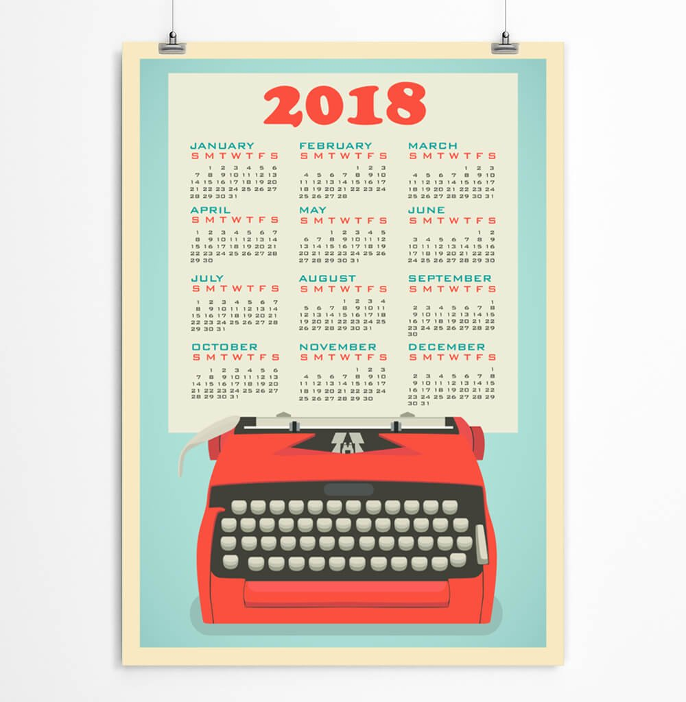 Wall calendar for 2018 Retro typewriter Office Paper Goods Stationery 5x7, 8x10, 11x14, 12x16, 13x19 inches - Unframed